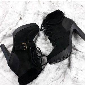 Lauren Ralp Lauren Shearling Leather Lace Up Boots